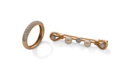 Lot en or  -broche de bavoir, perles de culture,...