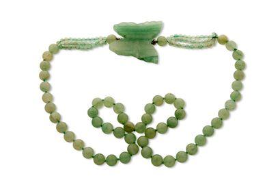 """Collier """"jadéite""""  Perles de jadéite, papillon gravé  Pb.: 130gr Cliquez ici pour..."""