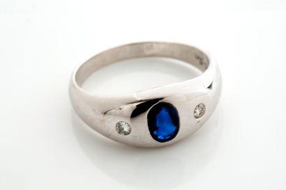 Bague jonc  Pierre bleue, diamants, 14K (585)  Td.: 60 - Pb.: 6.2gr Cliquez ici...