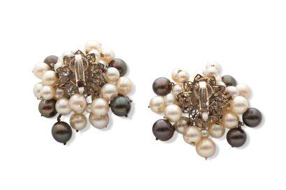 Paire de clips d'oreilles  Perles bicolores,...
