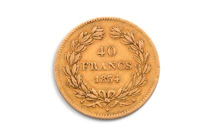 FRANCE  Louis Philippe Ier - pièce de 40 Francs  1834  12.8gr Cliquez ici pour enchérir...