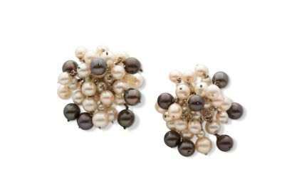Paire de clips d'oreilles  Perles bicolores, or 14K (585)  Pb.: 31.5gr Cliquez ici...