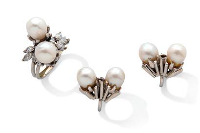 """Ensemble """"perles""""  -bague """"toi & moi"""" sertie de perles et diamants  -motifs d'oreilles..."""