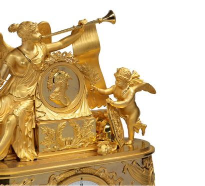 ATTRIBUÉE AU BRONZIER PIERRE-PHILIPPE THOMIRE (1751-1843) Exceptionnelle Pendule...