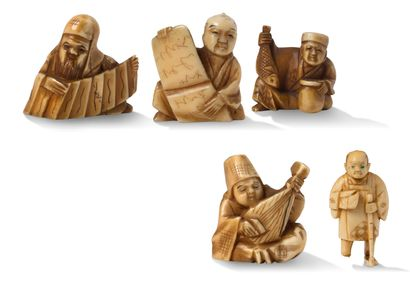 Japon vers 1930 Five netsuke in tinted ivory, representing respectively Jurojin seated,...