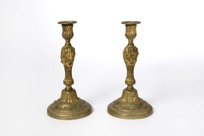 Paire de flambeaux en bronze