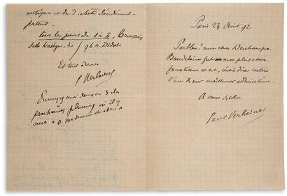 "VERLAINE PAUL (1844-1896) L.A.S. ""Paul Verlaine"", 23 August 1892, to Léon DESCHAMPS;..."