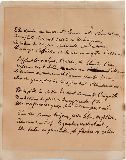 DEGAS Edgar (1834-1917) 亲笔诗,[舞者];1页中4页(22.2 x 18厘米;有点绝缘,有装裱的痕迹)。 画家罕见的十四行诗。 [据Paul...