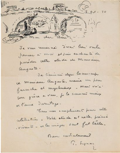 SIGNAC Paul (1863-1935) L.A.S. with DRAWING, October 8, 1910, [to Charles SAUNIER]...