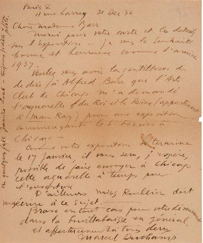 """DUCHAMP Marcel (1887-1968) L.A.S. """"Marcel Duchamp"""", Paris December 21, 1936, to Mrs...."""
