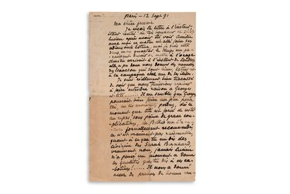 """PISSARRO Camille (1831-1903) L.A.S. """"C. Pissarro"""" (incomplete), Paris 12 September..."""