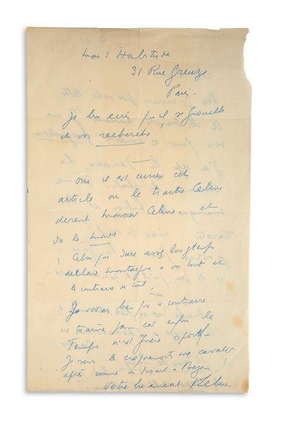"""CELINE LOUIS-FERDINAND (1894-1961) L.A.S.""""LFCéline"""",[Korsør(丹麦)]11日[1949年10月],给他的朋友Paul..."""