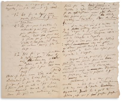 """BAUDELAIRE Charles (1821-1867) L.A.S. """"Charles"""", [Paris] Monday, October 31, 1853,..."""