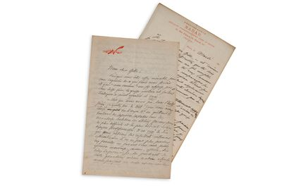 """NADAR Félix (1820-1910) 2 L.A.S. """"Nadar"""", [1872?] and n.d., to Philippe GILLE; 2..."""