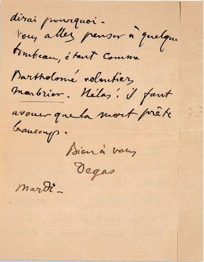 "DEGAS Edgar (1834-1917) L.A.S. ""Degas"", Tuesday [February 1891?], to Alfred LENOIR;..."