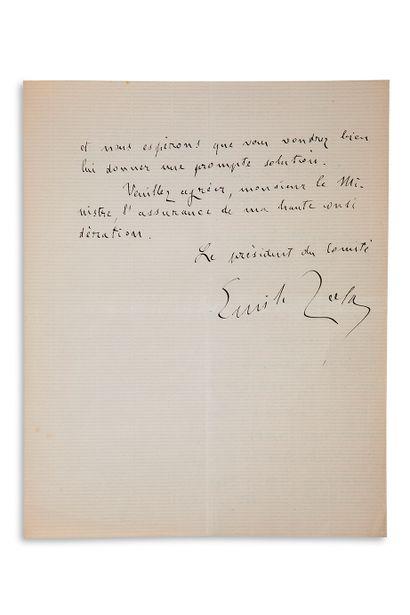"""ZOLA emile (1840-1902) L.A.S. """"Le président du Comité Emile Zola"""" comme président..."""