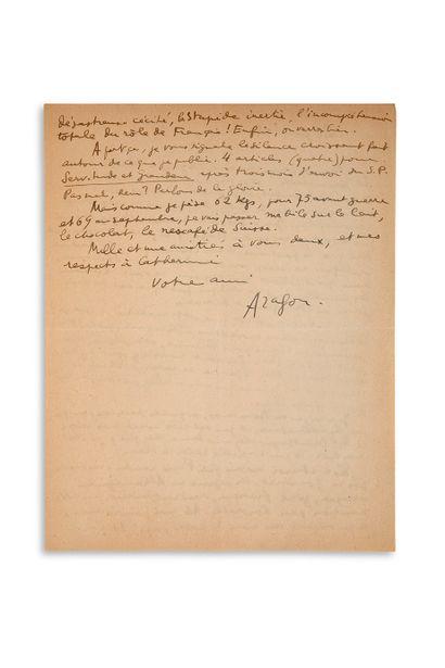 """ARAGON Louis (1897-1982) L.A.S. """"Aragon"""", July 28 [1945, to André ROUSSEAUX]; 1 page..."""
