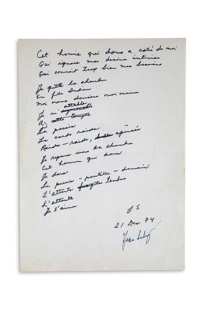 "SEBERG JEAN (1938-1979) Autograph poem signed ""J S"" and ""Jean Seberg"", December 21,..."