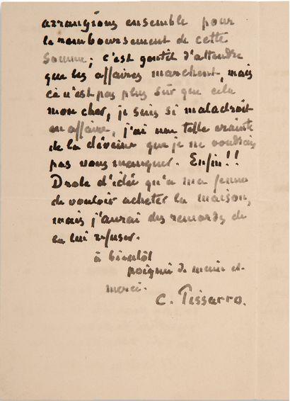 """PISSARRO Camille (1830-1903) L.A.S. """"C. Pissarro"""", London June 12, 1892, to Claude..."""