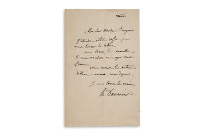 """DAUMIER Honoré (1808-1879) L.A.S. """"H. Daumier"""", Tuesday, to Adolphe BEUGNIET; 1 page..."""
