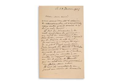 "BARTHOLDI Auguste (1834-1904) L.A.S. ""Bartholdi"", January 28, 1903, to a friend;..."