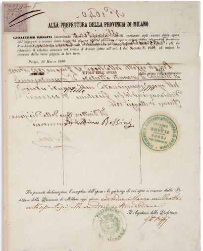"""ROSSINI Gioachino (1792-1868) P.S. """"Gioachino Rossini"""", Paris 15 March 1866; 2 pages..."""
