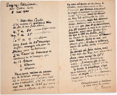 """PISSARRO Camille (1830-1903) L.A.S.""""C。 Pissarro"""",Eragny-Bazincourt,1900年5月8日,致M.CONTET;2页,8开。..."""