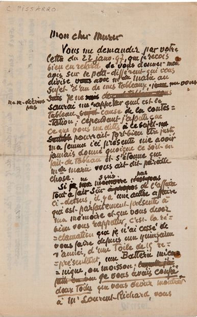 PISSARRO Camille (1830-1903) L.A.(草稿),[1897年1月29日],致尤金-穆勒;1页半,8开,有删改。 ,关于他的画作和一幅未被退回的画作的有趣的信稿。...