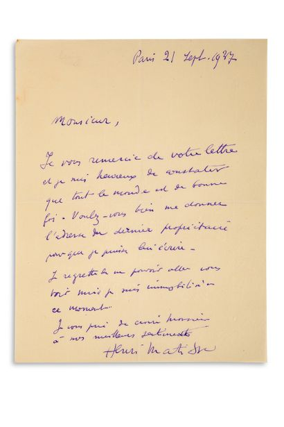 "MATISSE Henri (1869-1954) L.A.S. ""Henri Matisse"", Paris 21 September 1937; 1 page..."
