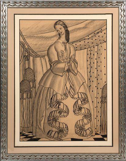 """DUPAS JEAN (1882-1964) 在窗帘下的优雅。 用印度墨水加强的炭笔画,左下方有签名,日期为""""Jean Dupas 1930""""。 艺术家以前的收藏。..."""