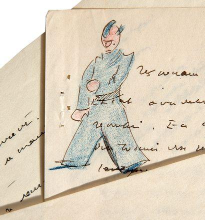 SAINT-EXUPÉRY Antoine de (1900-1944) AUTHORIZED MANUSCRIPT with DRAWING; 4 in-4 pages...