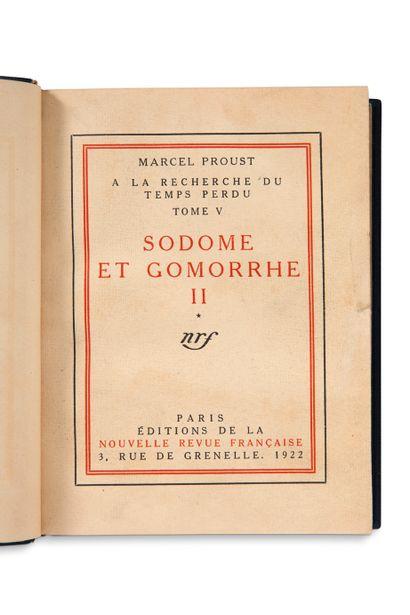 PROUST Marcel (1871-1922) • Sodome et Gomorrhe II (Paris, Éditions de la Nouvelle...