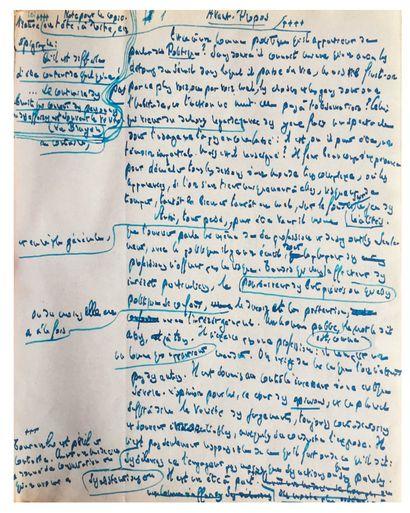BARTHOU Louis (1862-1934) homme politique et écrivain. • MANUSCRIT autographe signé,...