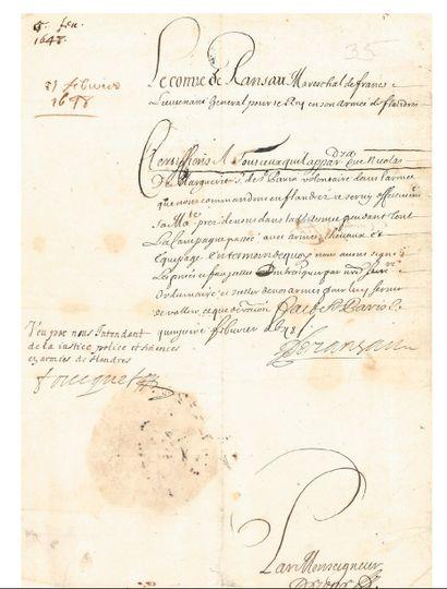 FOUQUET Nicolas (1615-1680) Surintendant des Finances. P.S., Paris 15 février 1648...