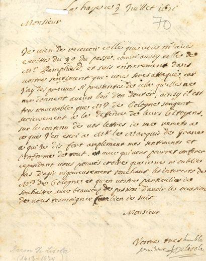 LISOLA François-Paul baron de (1613-1674) homme d'État et diplomate au service d'Autriche.