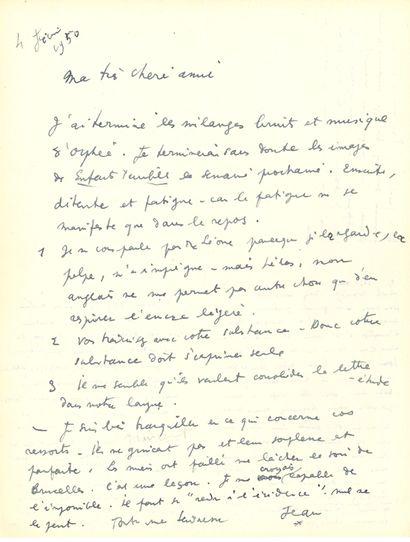 COCTEAU Jean (1889-1963) L.A.S. «Jean», 4 février 1950, [à son amie et traductrice...