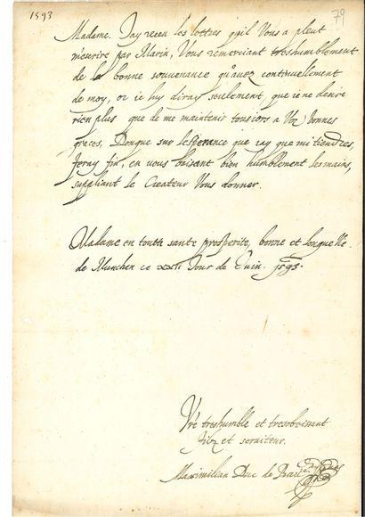 BAVIÈRE. 2 L.A.S. MAXIMILIEN Ier (1573-1651) duc de Bavière et prince-électeur....