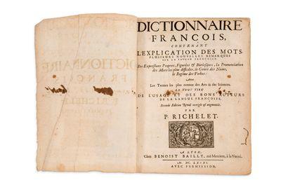 RICHELET Pierre (1626-1698) Dictionnaire fr ançois, contenant l'explication des mots,...