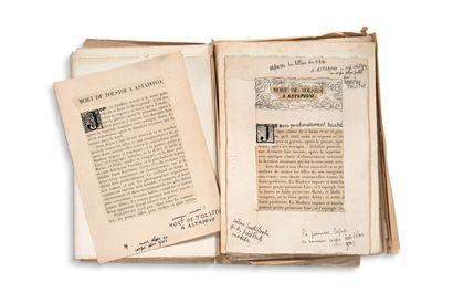 FINALY Marguerite († 1921) • Épreuves, [Reliquiae, 1925] ; plus de 300 feuillets...
