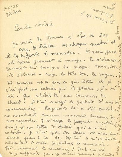 COCTEAU Jean (1889-1963) L.A.S. «Jean», Toulon juillet 1938, à la décoratrice Coula...