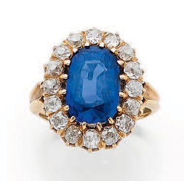 BAGUE «SAPHIR» Saphir ovale, diamants taille...