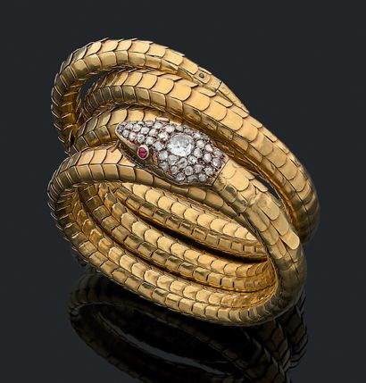 BRACELET «SERPENT» Diamants taille ancienne...