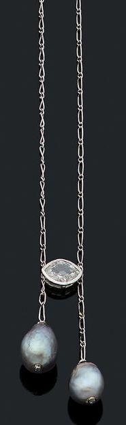COLLIER «NÉGLIGÉ» Diamant navette, perles...