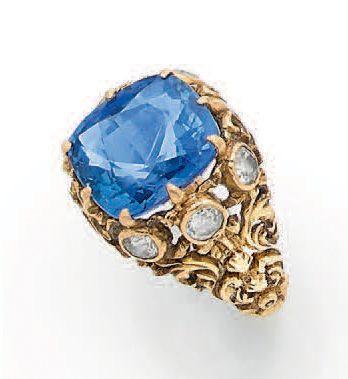 BAGUE «SAPHIR» Saphir coussin, diamants taille...