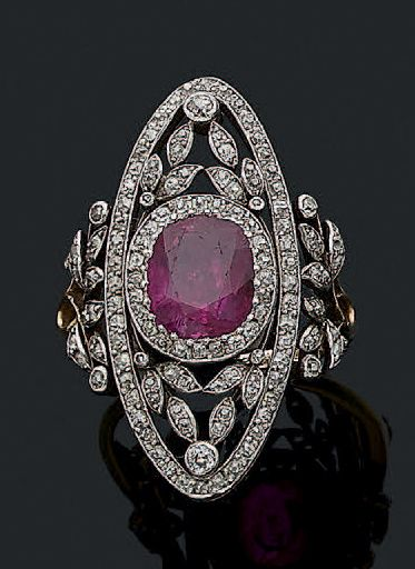 BAGUE «RUBIS» Rubis ovale, diamants taille...