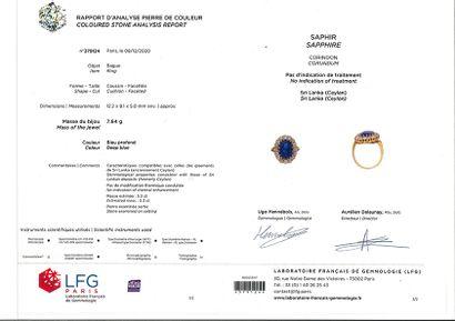 BAGUE «SAPHIR» Saphir ovale, diamants taille ancienne Or jaune 18k (750) Poids du...