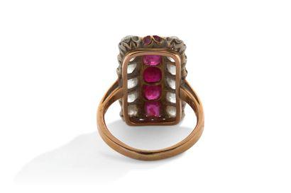 Bague Bague  Diamants de taille ancienne, pierres rouges, or 18K (750), platine (850)...