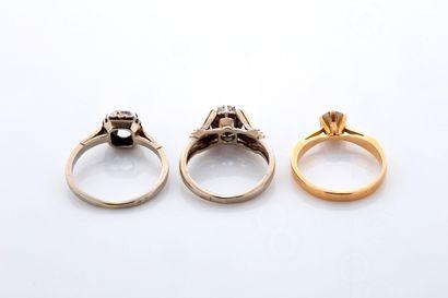 LOT LOT  6 bagues diamants, or 18K (750), platine (850)(950)  Poids des diamants:...