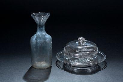 Confiturier et son plateau en verre soufflÈ...