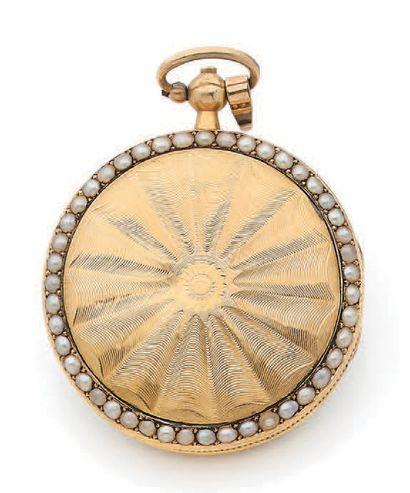 MUGNIER Début XIXe siècle Montre de fantaisie en or émaillée polychrome Boîtier rond...